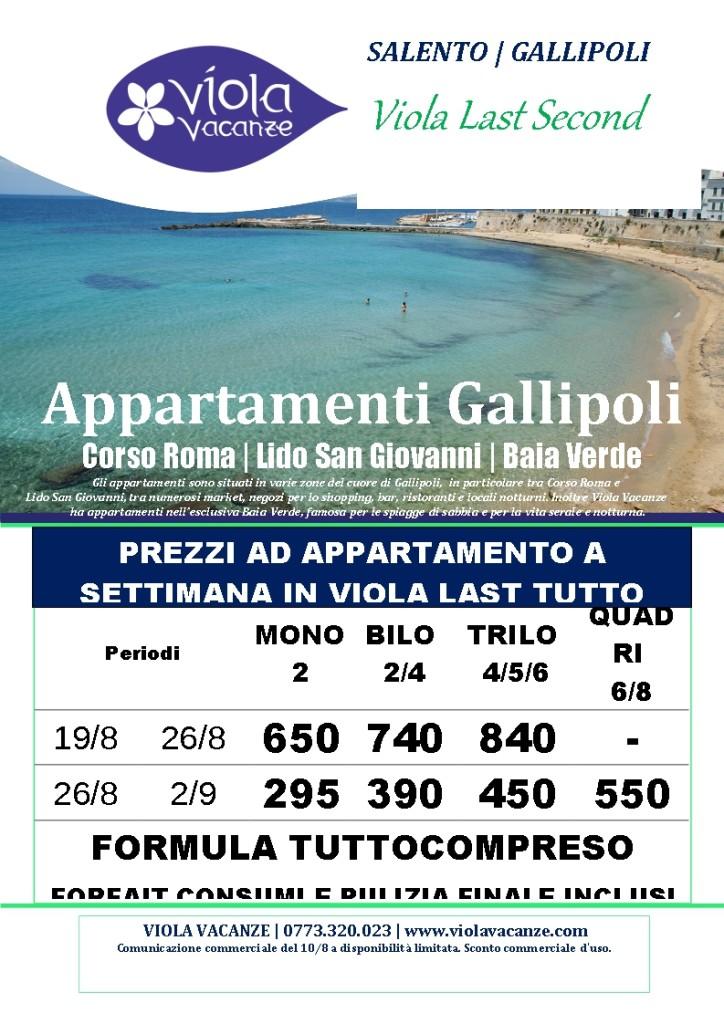 Apt Gallipoli TUTTO COMPRESO 10-8 NETTE